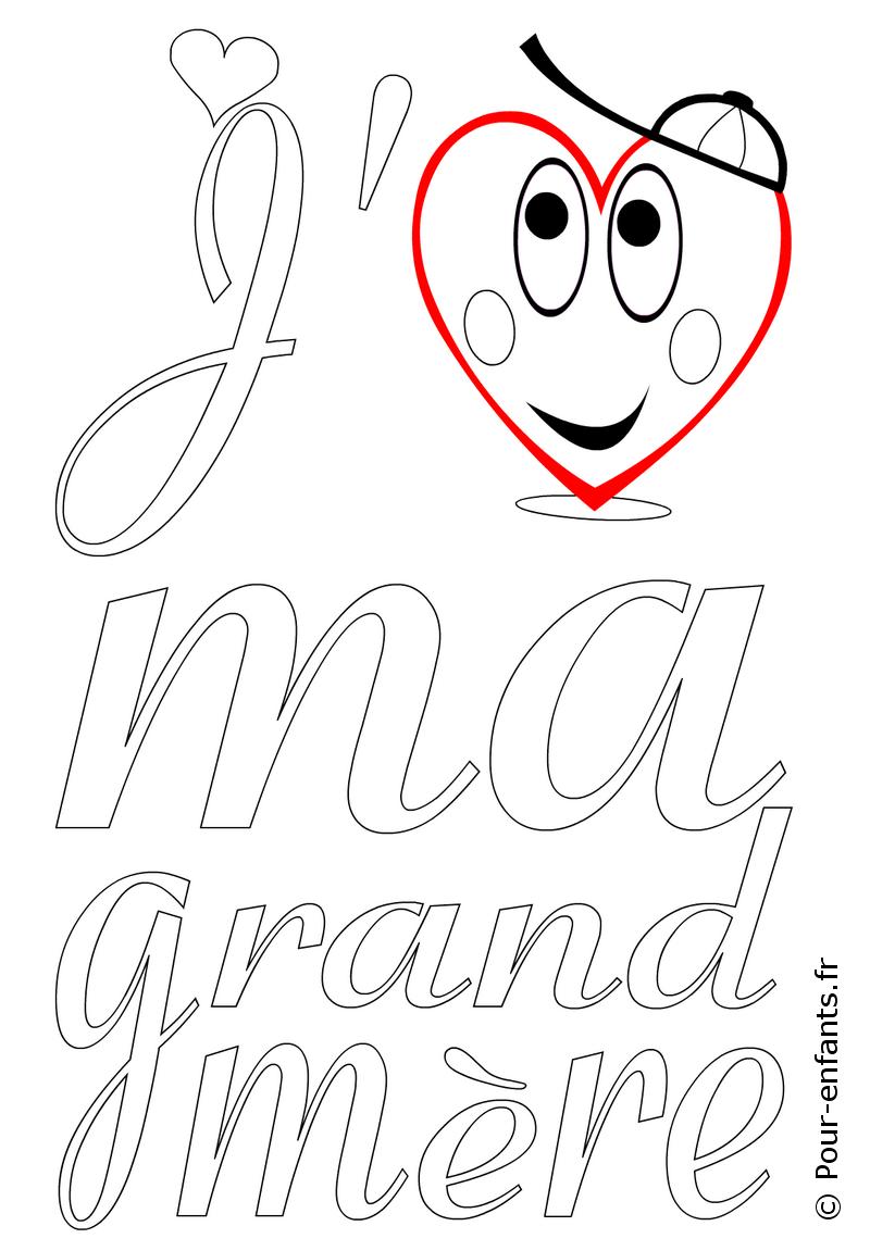 Fête Des Grands Mères Coloriage à Imprimer Amour De Grand